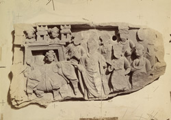 Buddhist sculpture slab from the monastery at Mian Khan, Peshawar District: Buddha meeting the elephant.